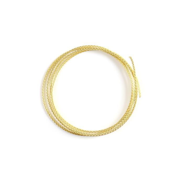 Artistic Wire Bare Yellow Brass Square Braid Wire, 14 Gauge/1.63mm, 2.5ft/0.76m