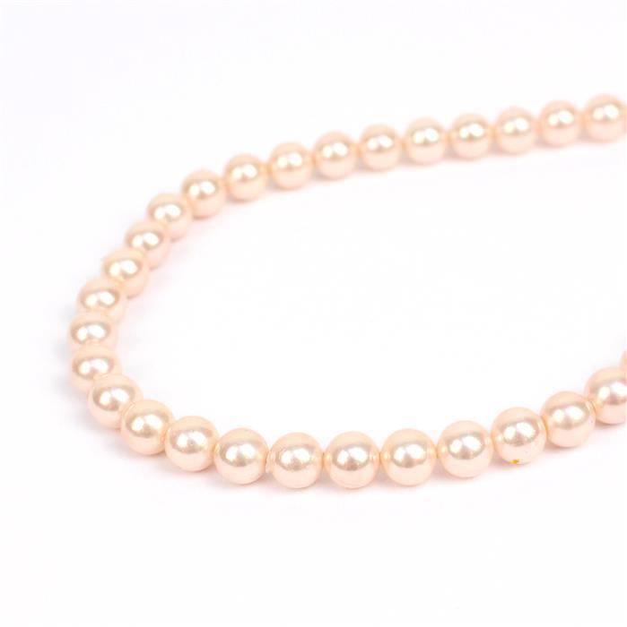 Pink Shell Plain Rounds Approx 6mm, 38cm strand
