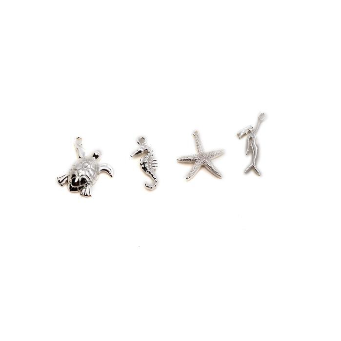 Silver Plated Base Metal Under The Sea Charm Pack, Approx 15-21mm (4pcs)