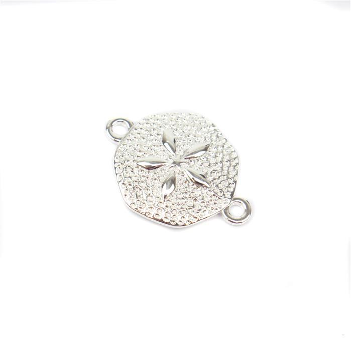925 Sterling Silver Sand Dollar Connector Approx 15x20mm 1pc