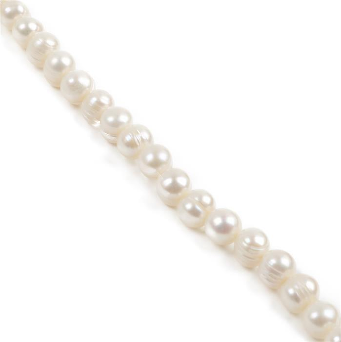 White Freshwater Cultured Lined Potato Pearls Approx 9x8mm