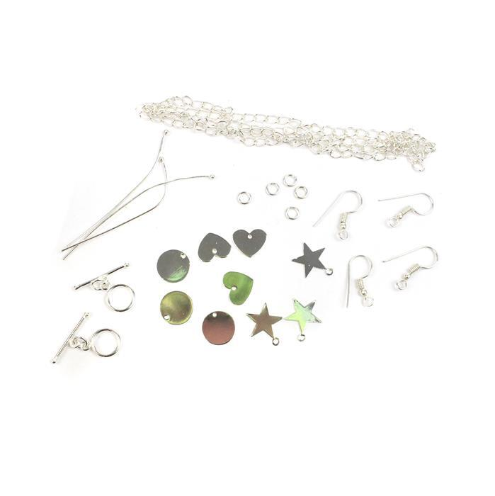 Silver Personalised Jewellery Collection: Star, Heart & Circle Blanks (9pk) & Findings
