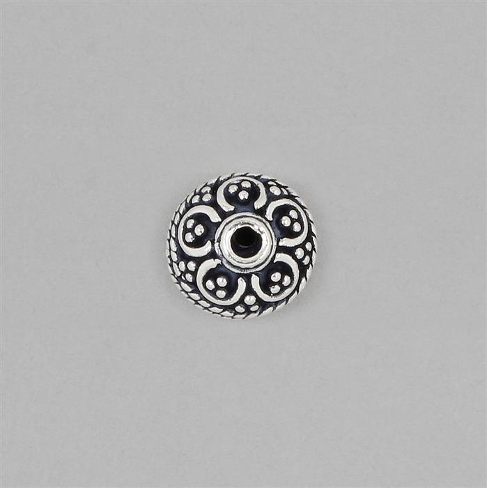 925 Sterling Silver Oxidised Bead Approx 9x7mm