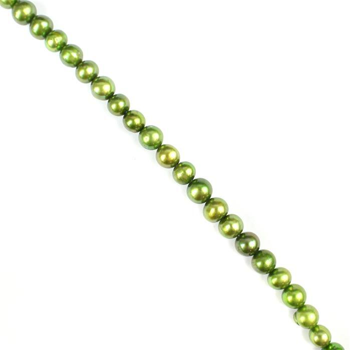 Fern Green Freshwater Cultured Potato Pearls Approx 5x6 to 8x6mm,38cm Strand