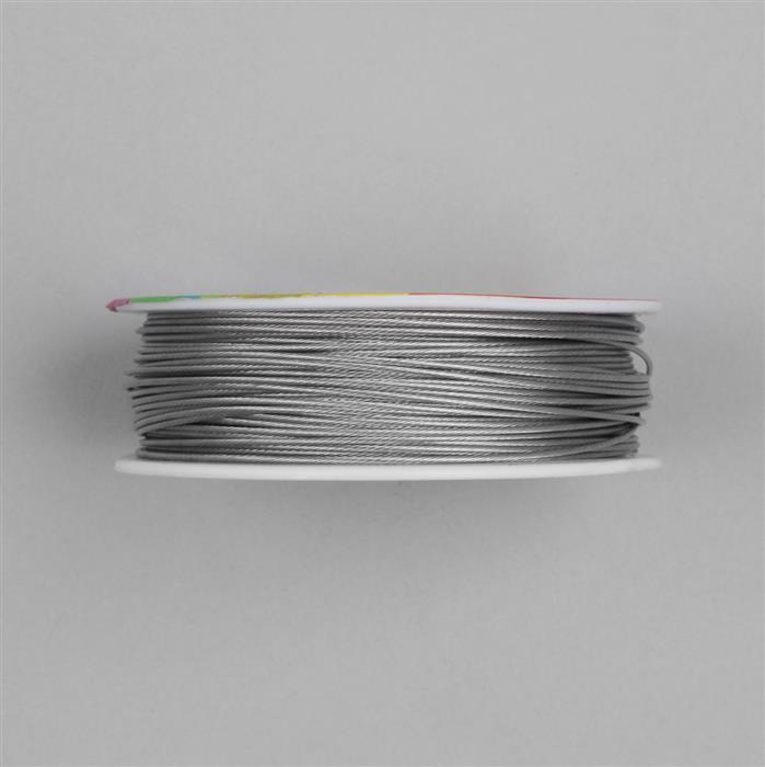 50m Light Grey Colour Stainless Steel Beading Thread 1mm