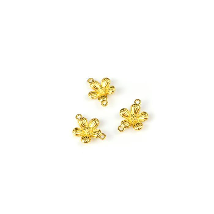 Gold Plated  925 Sterling Silver Single Spring Flower Connectors Approx 14x10mm 3pcs