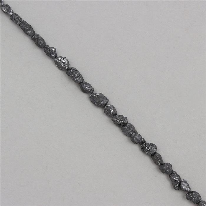 8cts Black Diamond Graduated Rough Medium Nuggets Approx 2x1 to 5x3mm, 14cm Strand.