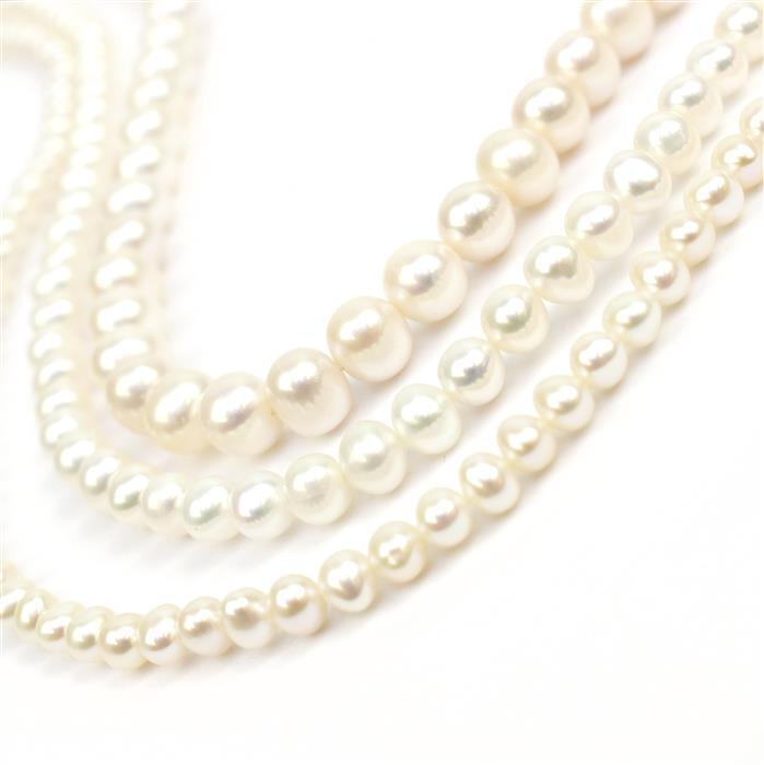 3 Strands White Freshwater Cultured Potato Pearls Approx (1 x 4-5mm, 1 x 6-7mm, 1 x 8-9mm)