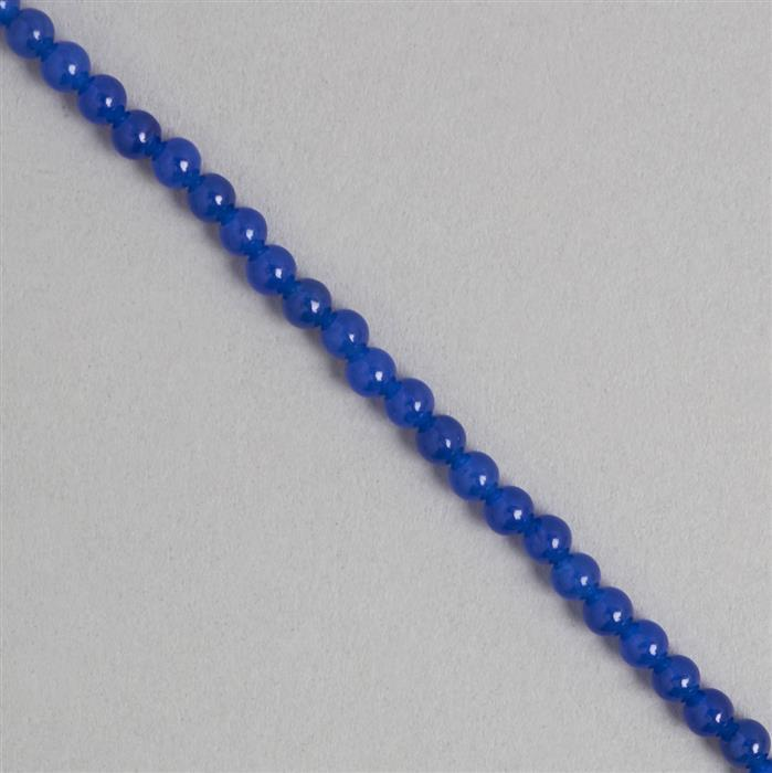 40cts Blue Colour Dyed Quartz Plain Rounds Approx 4mm, 35cm Strand.