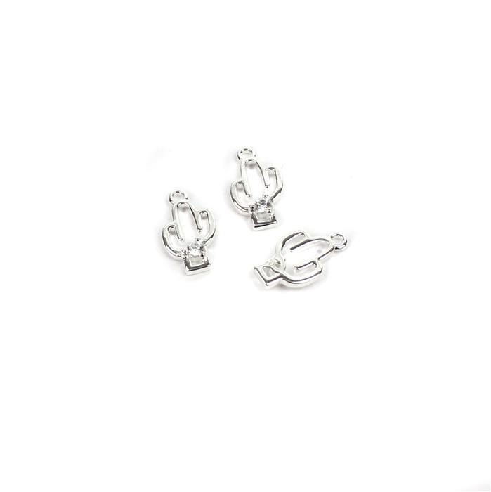 925 Sterling Silver Cactus Charms With Cubic Zirconia Approx 12x6mm (3pcs)