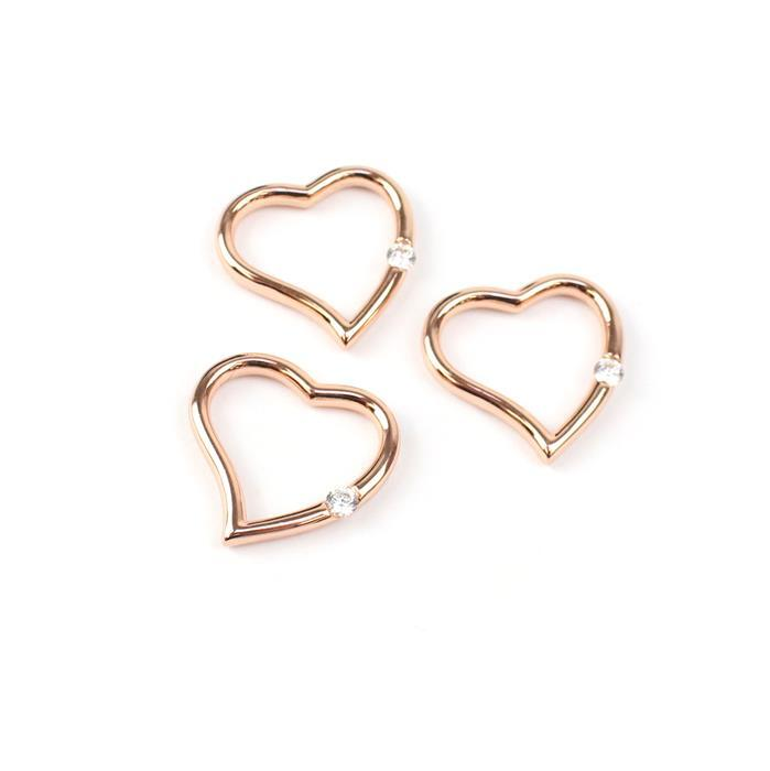 Rose Gold Plated My CZ Heart Pendant 925 Sterling Silver 20mm 3pk