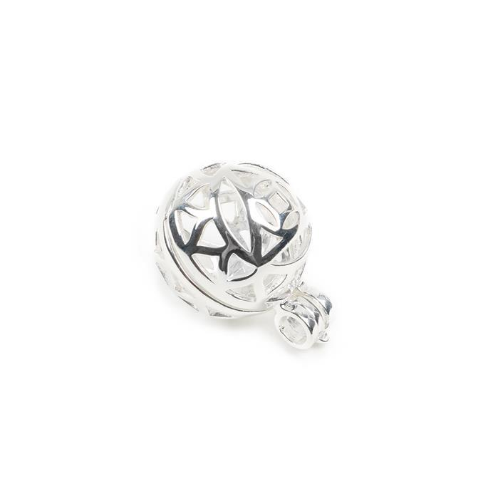 925 Sterling Silver Round Locket Pendant Charm Approx 20mm 1 Pcs