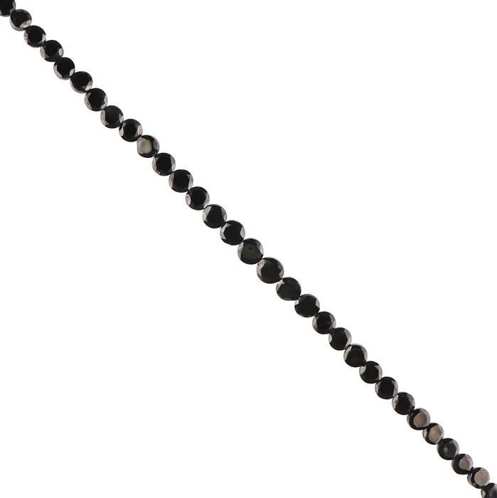60cts Black Spinel Graduated Faceted Coins Approx 4 to 7mm, 30cm Strand.