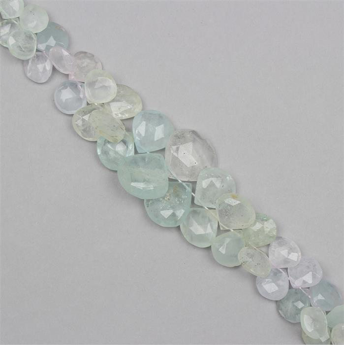 235cts Multicolour Beryl Graduated Elongated Faceted Drops Approx From 10 to 16mm, 16cm Strand.