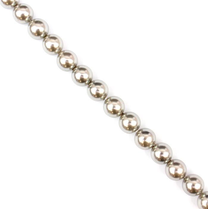Platinum Shell Pearl Plain Rounds Approx 8mm, 38cm strand