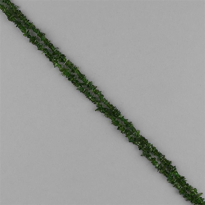 102cts Chrome Diopside Plain Small Nuggets Approx 2x1 to 8x2mm, 86cm Strand.