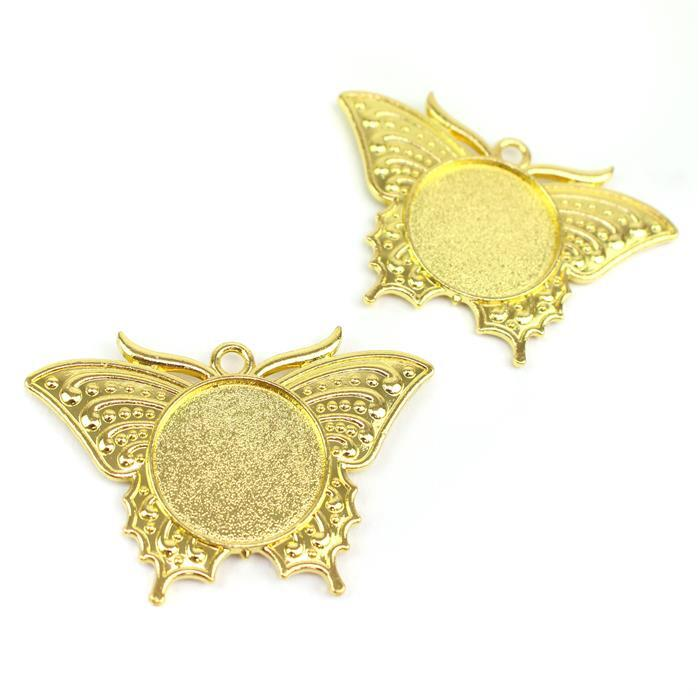 Gold Colour Bezel Pendant in Butterfly Shape Approx 34X49mm (Set of 2)