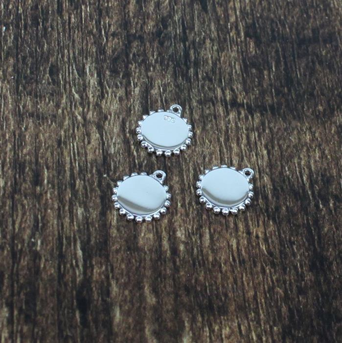 925 Sterling Silver Round Plaque Bead Detail Charms Approx 10mm, 3pcs