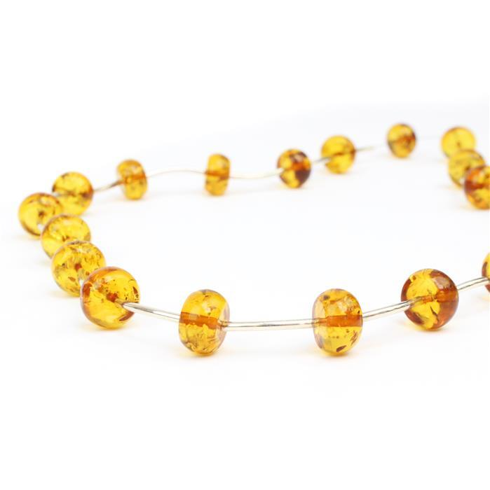 Baltic Cognac Amber oval Beads with sterling silver spacers Approx 6x9mm 38cm