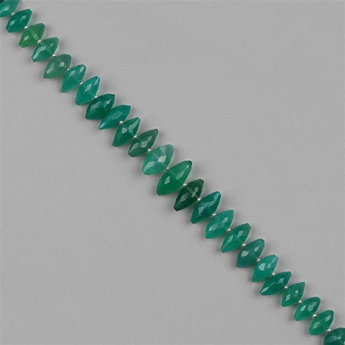 95cts Green Onyx Graduated Faceted Rice Beads Approx 10x4 to 15x6mm, 18cm Strand.