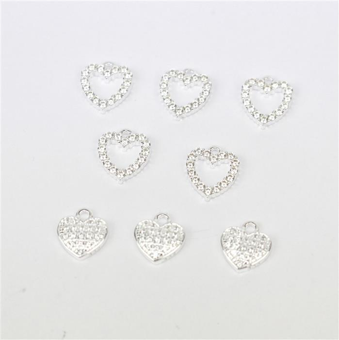 Charming; True Love Collection 925 Sterling Silver and Cubic Zirconia Charms 8pcs