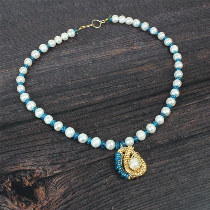 Hello Blue Skies; 52cts Neon Apatite, White Cultured Pearls 8-9mm & Champagne Gold Wire