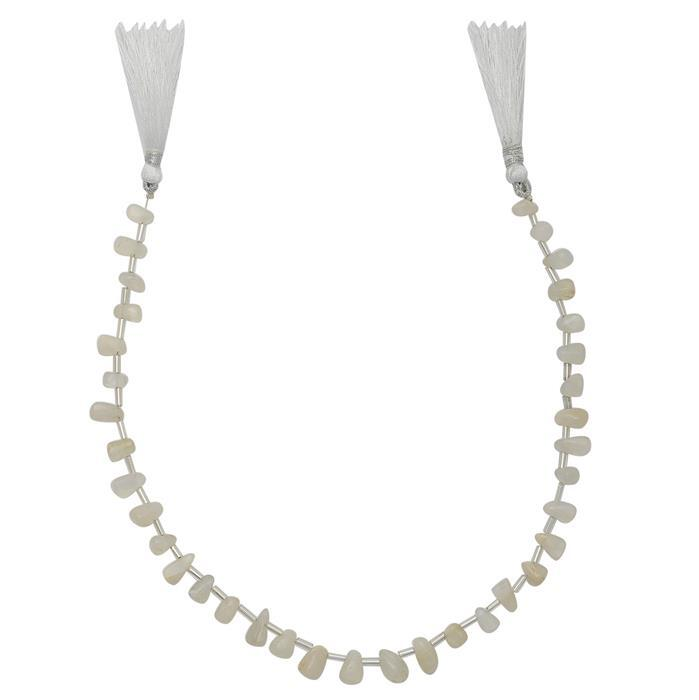 70cts Cream Moonstone Graduated Irregular Plain Drops Approx From 8x4 to 10x5mm, 30cm Strand.