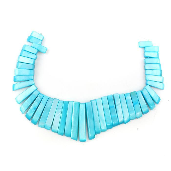 Turquoise Shell Layout Bars Approx from 10x4mm to 28x4mm, 41pcs Strand