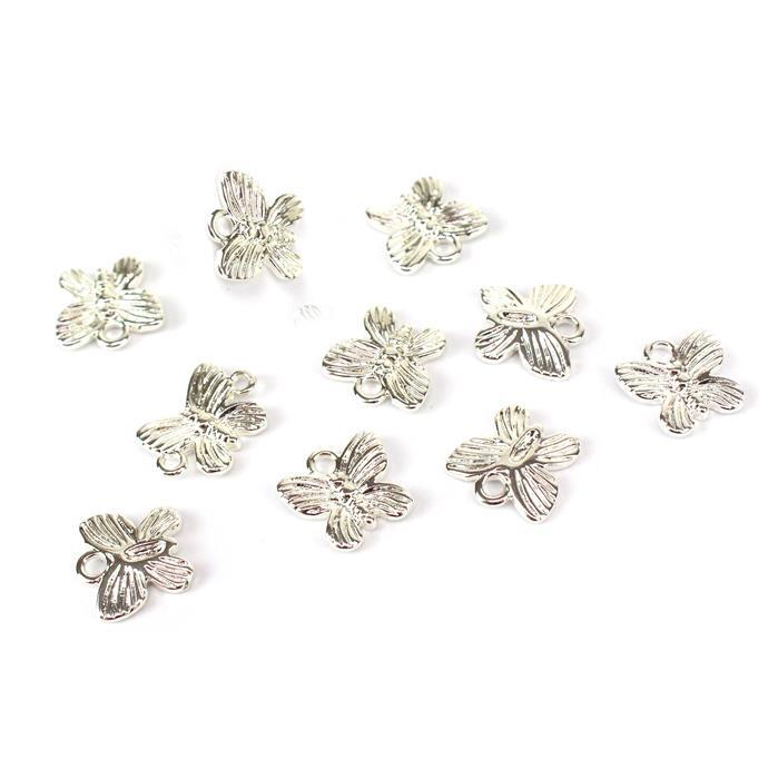 Silver Plated Base Metal Butterfly Charms, Approx 12x12mm (10pcs)
