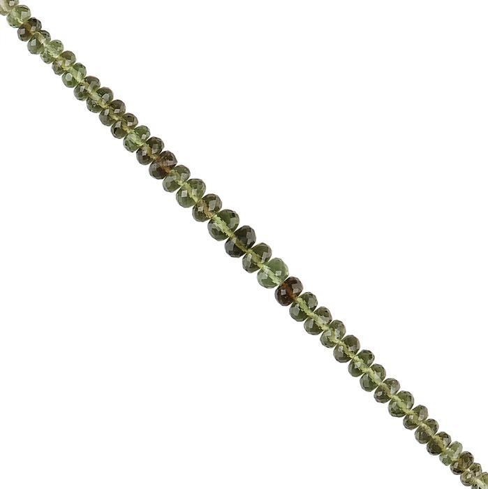 10cts Moldavite Graduated Faceted Rondelles Approx 3x1 to 5x2mm, 8cm Strand.