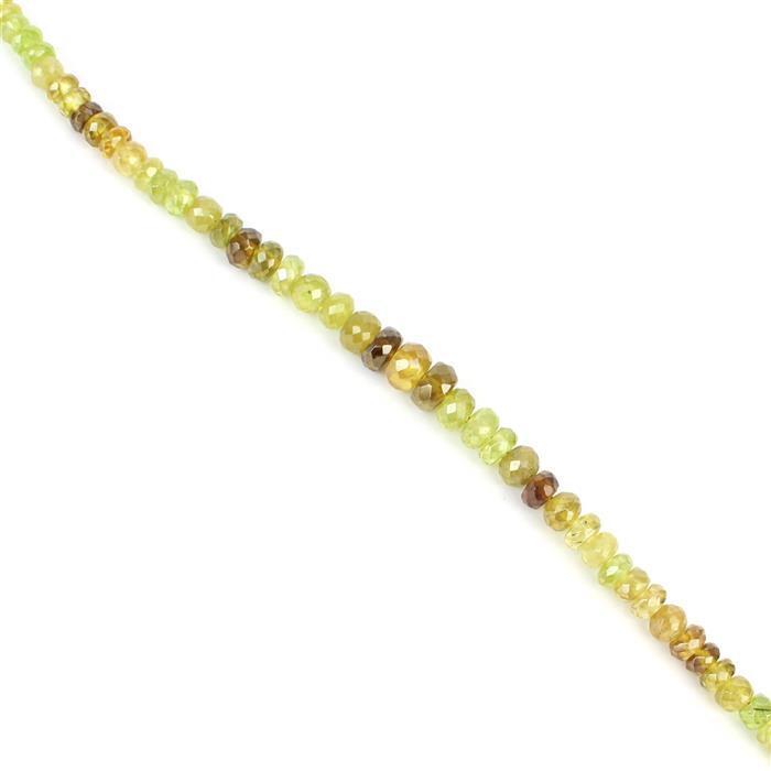 34cts Ombre Sphene Graduated Faceted Rondelles Approx 2x1 to 6x3mm, 18cm Strand.