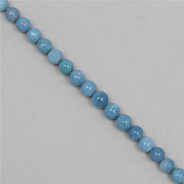 48cts Blue Opal Graduated Plain Rounds Approx 4 to 7mm, 18cm Strand.