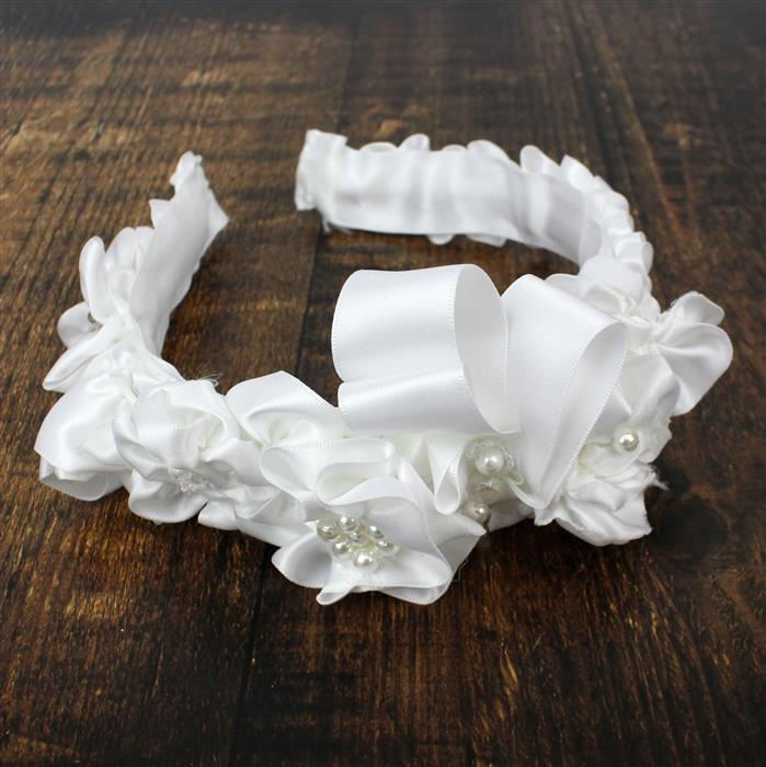 White Peony INC Tiara Bands, Vintage Rose Swarovski, White Satin Ribbon