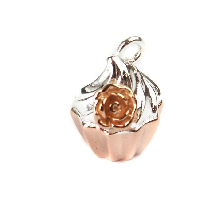 Rose Gold Plated 925 Sterling Silver 3D Cupcake with Rose Charm Approx 14x11mm, 1pc