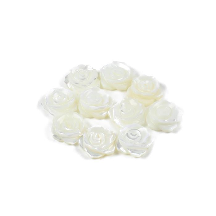 White Shell Half Drilled Rose Flowers Approx 12mm, 10pcs/pack