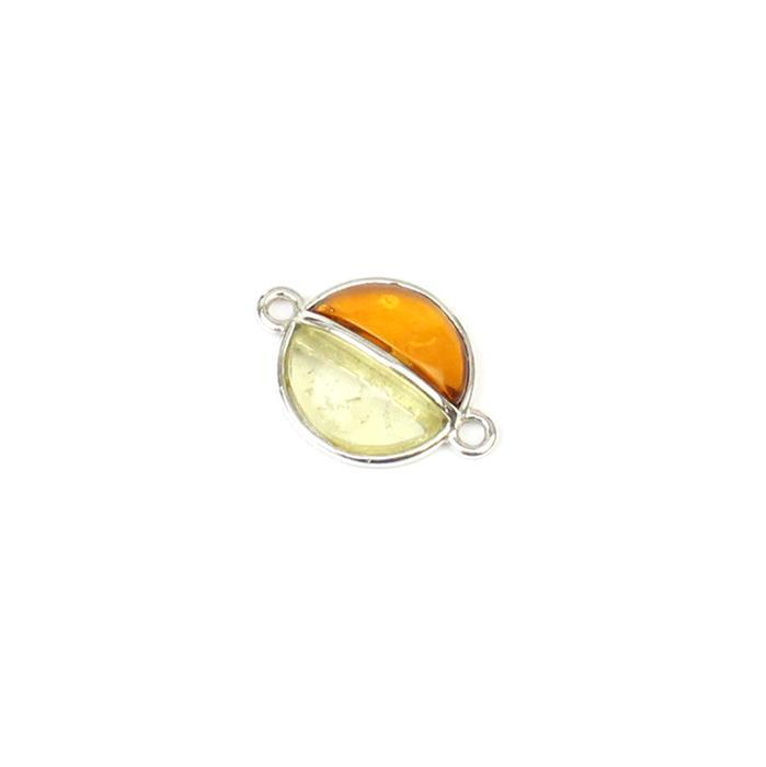 Baltic Multi colour Amber Other Half Charm, Approx 13x18mm Sterling Silver