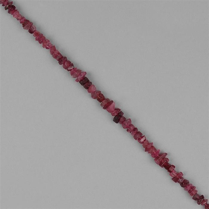 48cts Pink Tourmaline Graduated Medium Rough Nuggets Approx 3x1 to 7x3mm, 18cm Strand.