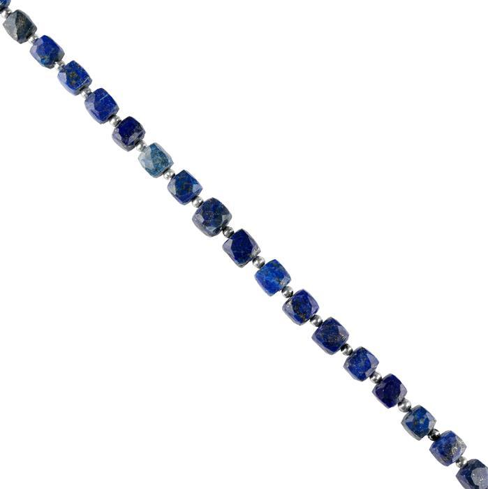 110cts Lapis Lazuli Graduated Faceted Cubes 5 to 8mm, 20cm Strand.