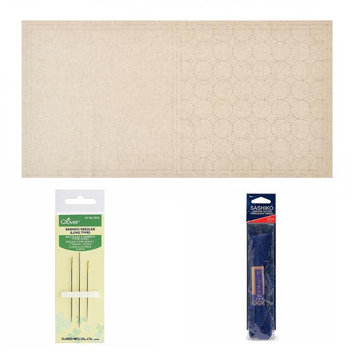 Sashiko Natural Mat Panel Kit: Panel, Thread & Needles