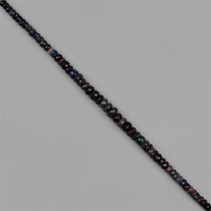 37cts Black Ethiopian Opal Graduated Faceted Rondelles Approx 3x2 to 7x3mm, 18cm Strand.