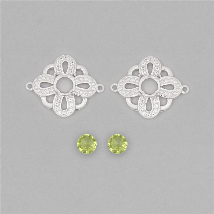925 Sterling Silver Connector Mount Fits 6mm Round Inc. 1.65cts Peridot 6mm Round with 0.2cts White Topaz Approx 1mm Round (2pcs)