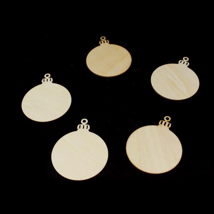 Wooden Bauble Shapes, Approx. 65mm (5pk)