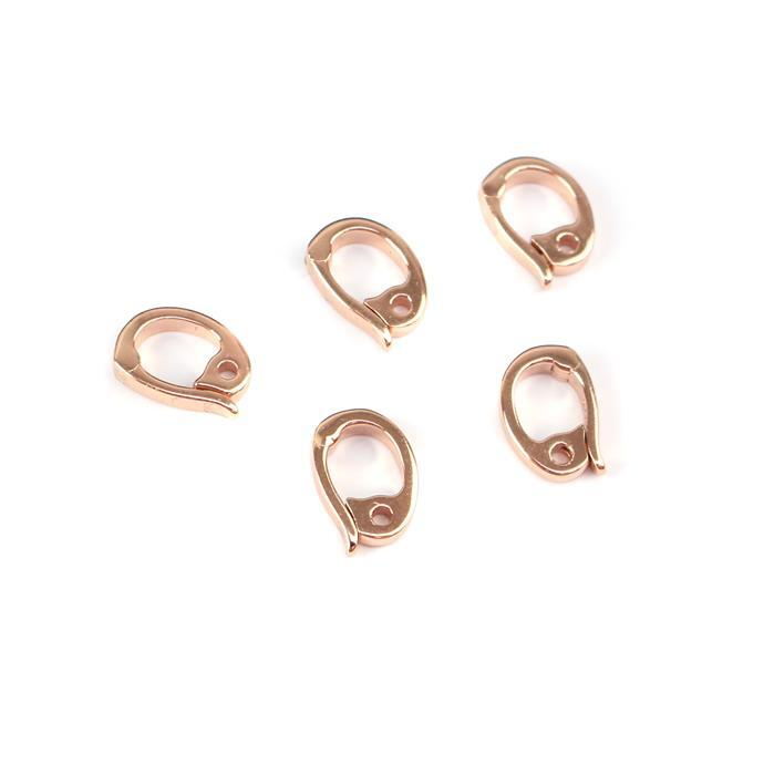 Rose Gold Plated 925 Sterling Silver Clip On Bails Approx 7x10mm (5pcs)