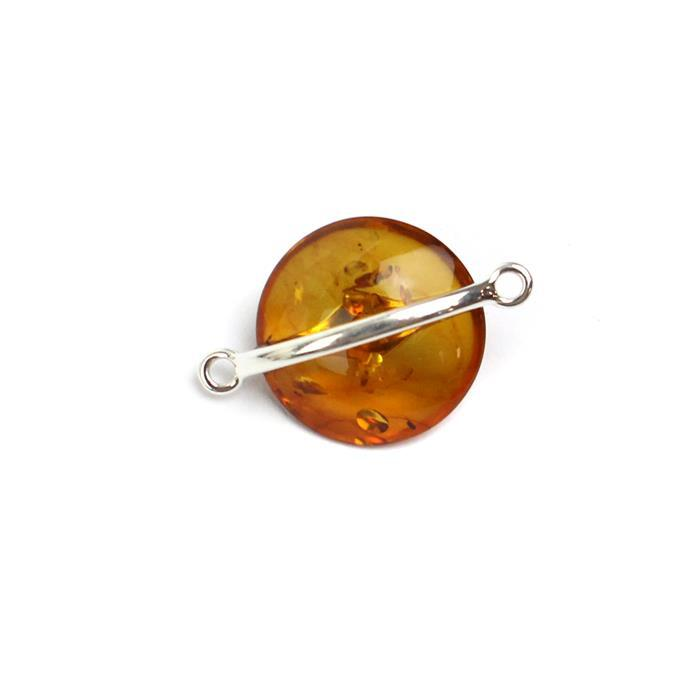 Baltic Cognac Amber Sterling Silver Saucer Connector Approx 22x15mm