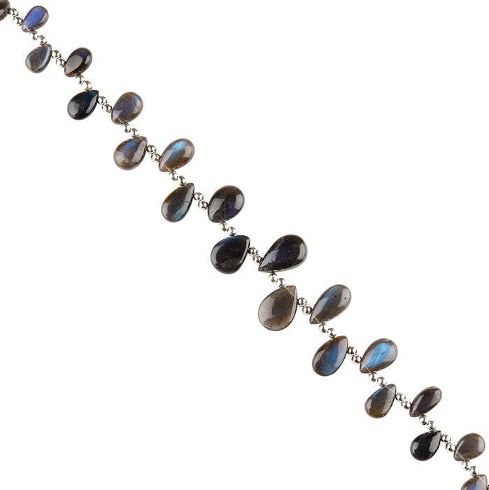 66cts Blue Sheen Labradorite Graduated Plain Pears Approx 7x4 to 15x9mm, 18cm Strand.