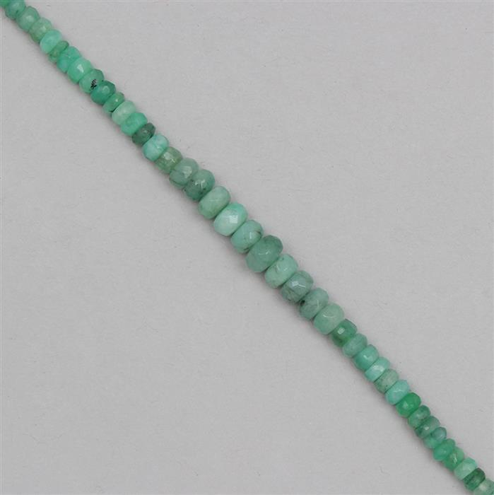 28cts Emerald Graduated Faceted Rondelles Approx 2x1 to 5x2mm, 19cm Strand.