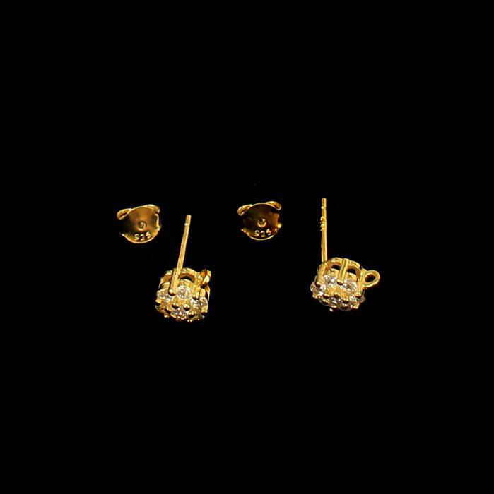 Gold Plated 925 Sterling Silver Cubic Zirconia Earring Stud With Butterfly Approx 6mm, 1pair