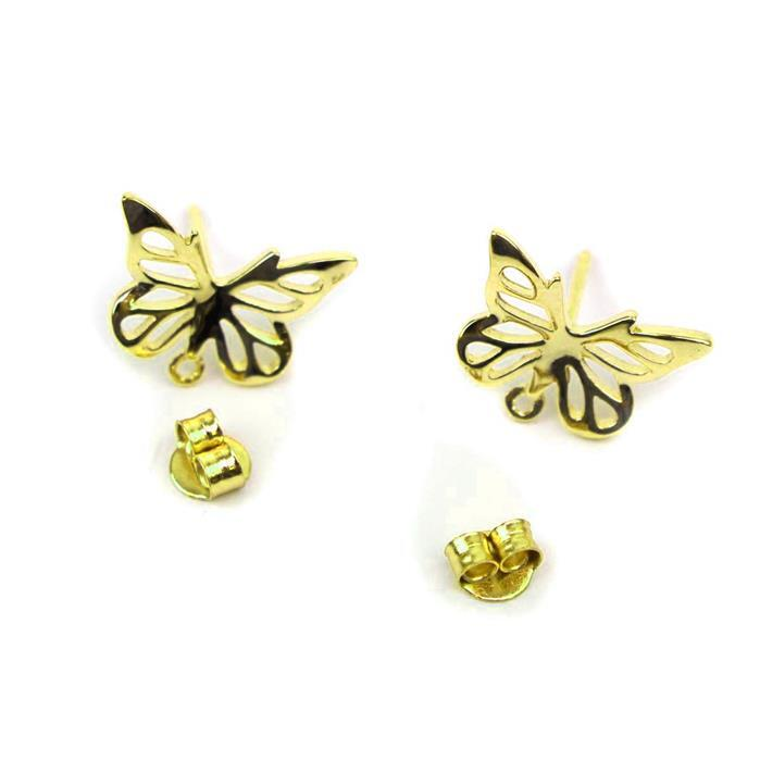 Gold Plated 925 Sterling Silver 3D Symmetrical Butterfly Earring Motifs 11x15mm, 1 pair