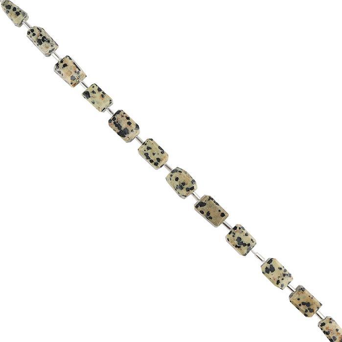 90cts Dalmatian Graduated Faceted Nuggets Approx 9x6 to 12x8mm, 18cm Strand.