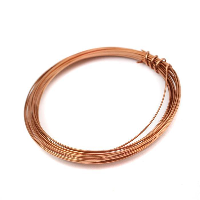 3m Rose Gold Coloured Copper Half Round Wire Approx 1.00mm